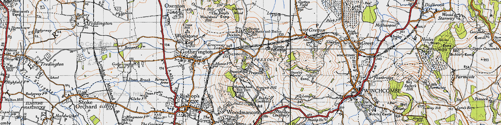 Old map of Winchcombe Way in 1946