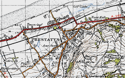 Old map of Prestatyn in 1947