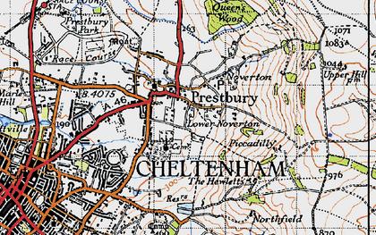Old map of Prestbury in 1946