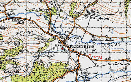 Old map of Presteigne in 1947