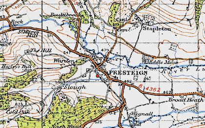 Old map of Presteigne in 1947