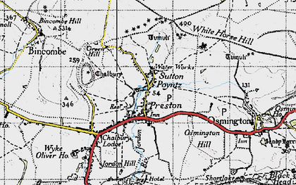 Old map of White Horse Hill in 1946