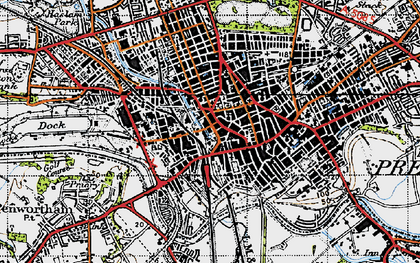 Old map of Preston in 1947