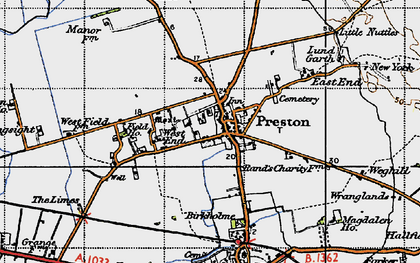 Old map of Preston in 1947