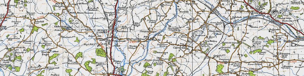 Old map of Preston Bagot in 1947