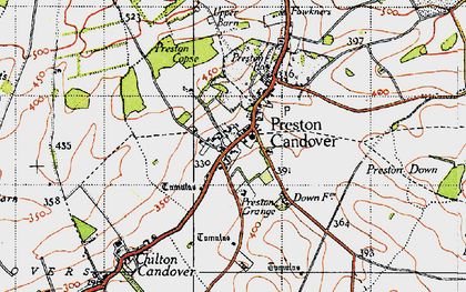 Old map of Preston Candover in 1945