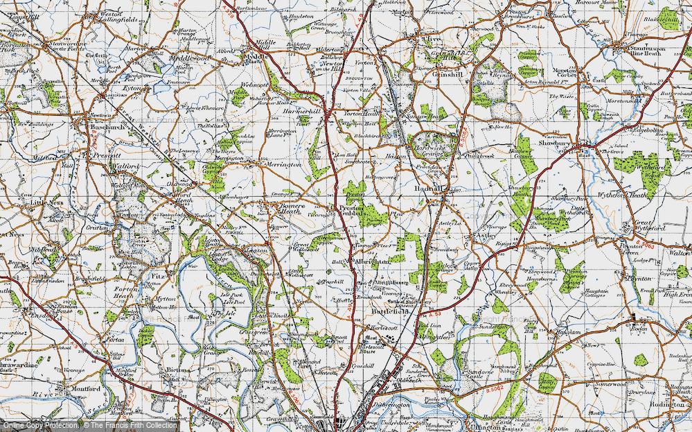 Old Map of Preston Gubbals, 1947 in 1947