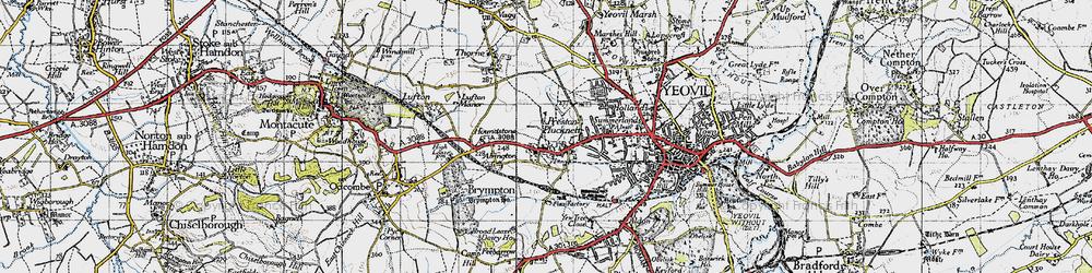 Old map of Preston Plucknett in 1945