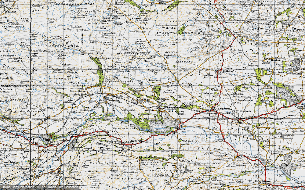 Old Map of Historic Map covering Layburn Moor in 1947