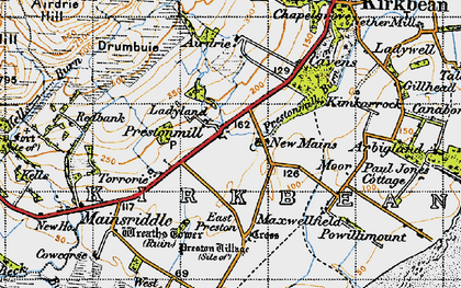 Old map of Airdrie in 1947