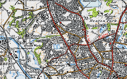 Old map of Prestwich in 1947