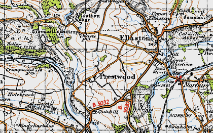Old map of Wootton Lodge in 1946