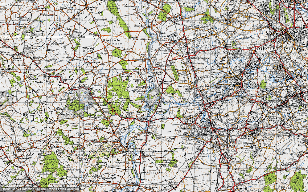 Old Map of Historic Map covering Lawns Wood in 1946