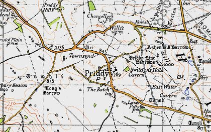 Old map of Priddy in 1946