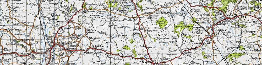 Old map of Admirals Gorse in 1946