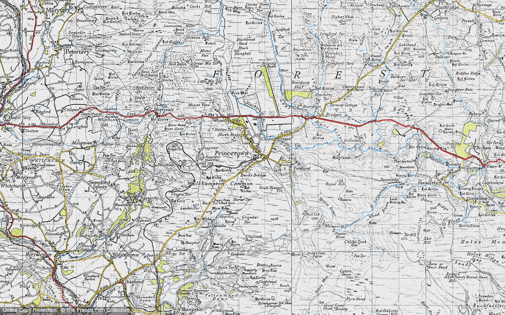 Old Map of Historic Map covering Leeden Tor in 1946
