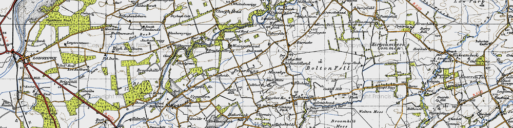 Old map of Whitecloserigg in 1947