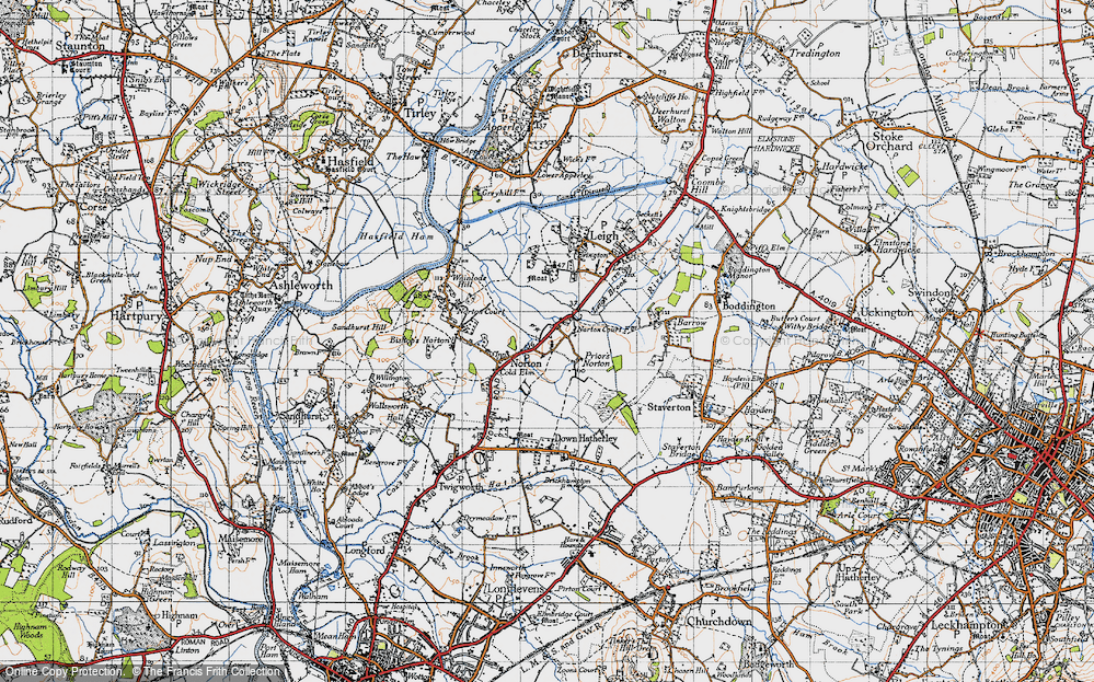 Old Map of Historic Map covering Leigh End in 1947