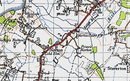 Old map of Leigh End in 1947