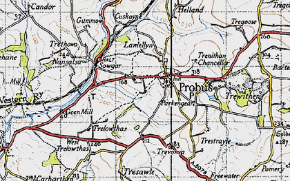 Old map of Probus in 1946