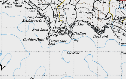 Old map of Prussia Cove in 1946