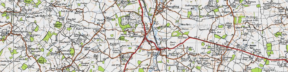 Old map of Puckeridge in 1946