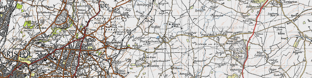 Old map of Pucklechurch in 1946