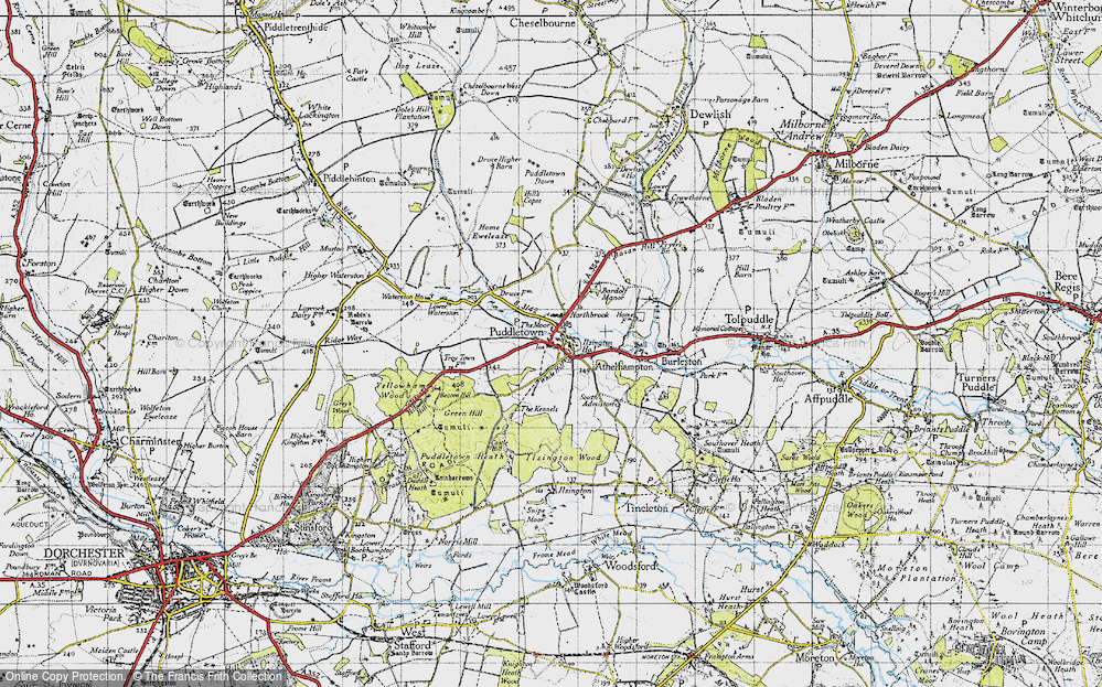 Old Map of Historic Map covering Bardolf Manor in 1945