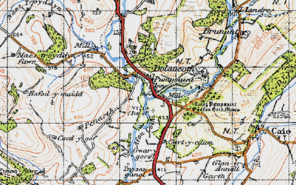 Old map of Ynysau in 1947