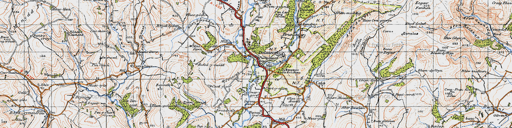 Old map of Ynysau in 1947