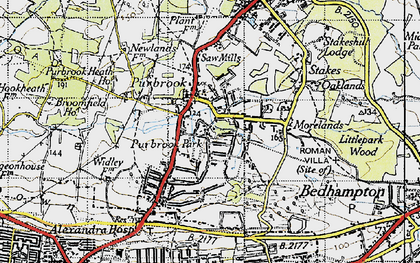 Old map of Purbrook in 1945