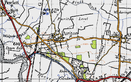Old map of Puriton in 1946