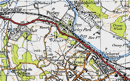 Old map of Purley on Thames in 1947