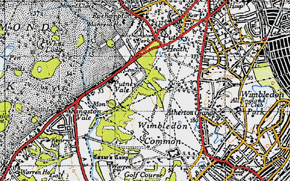 Old map of Wimbledon Common in 1945