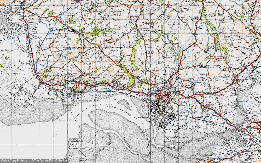 Old Map of Historic Map covering Afon Dulais in 1946