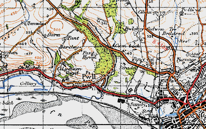 Old map of Afon Dulais in 1946