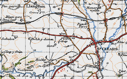 Old map of Zabulon in 1946