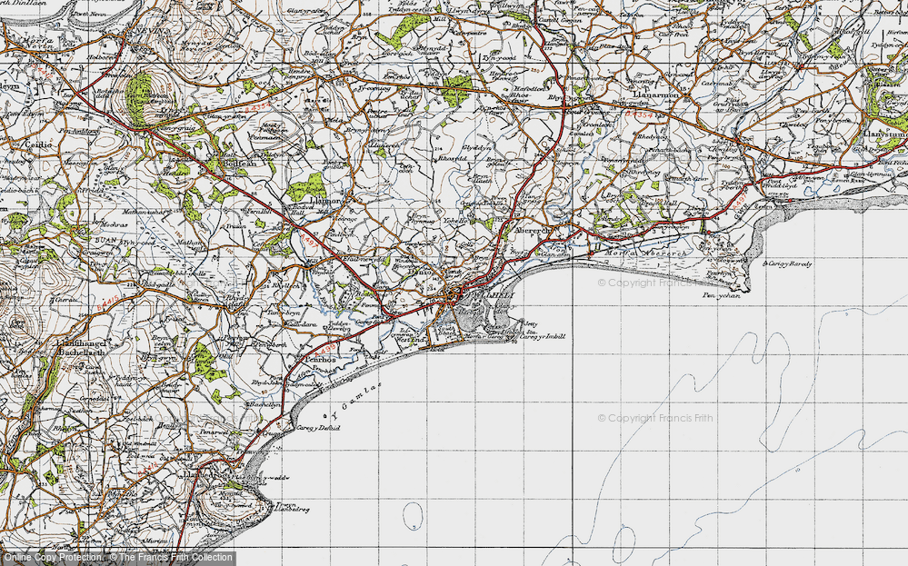 Old Map of Historic Map covering Allt Fawr in 1947