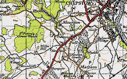 Old map of Willis Hill in 1946