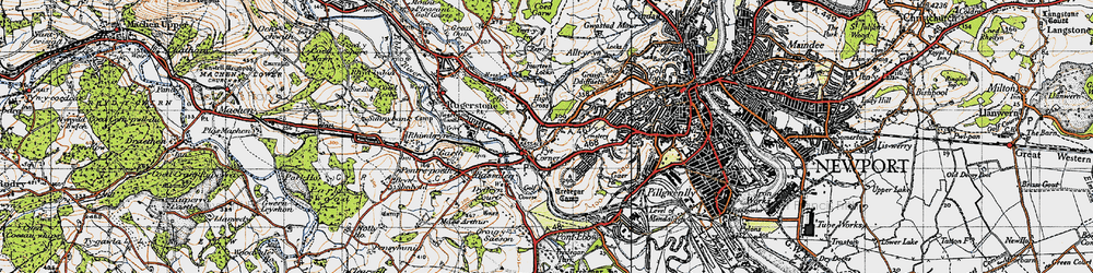 Old map of Pye Corner in 1947