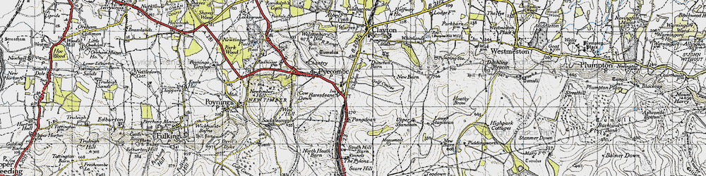 Old map of Pyecombe in 1940