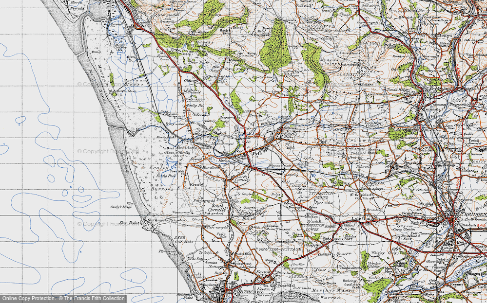 Old Map of Pyle, 1947 in 1947