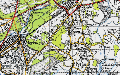 Old map of Pyrford in 1940
