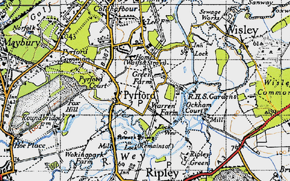 Old map of Newark Priory in 1940