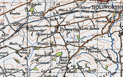 Old map of Affaland Moor in 1946