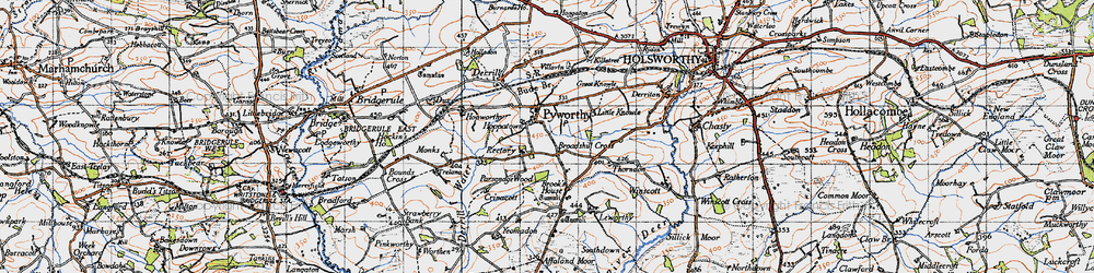 Old map of Leworthy in 1946