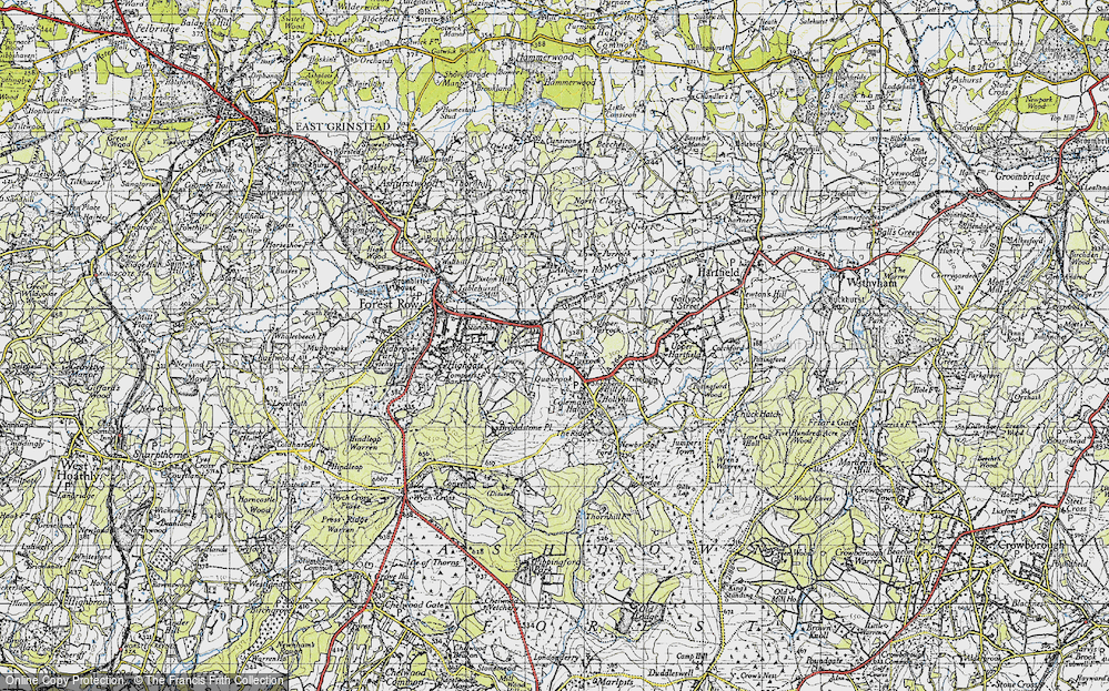 Old Map of Historic Map covering Ashdown Ho (Sch) in 1946