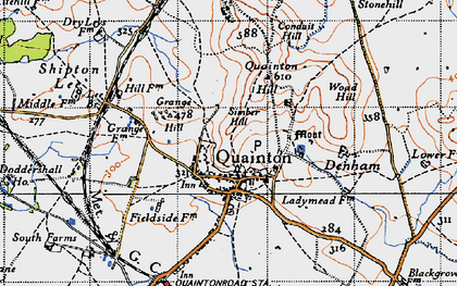 Old map of Quainton in 1946