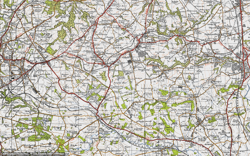Old Map of Historic Map covering Langley Moor in 1947