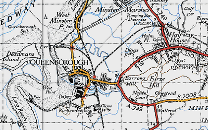 Old map of Queenborough in 1946